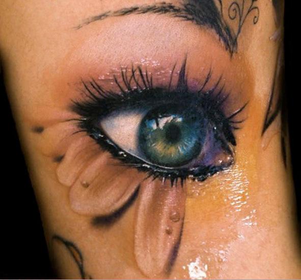 Oeil tatou tatouage 3d sur - Tatouage larme sous l oeil ...