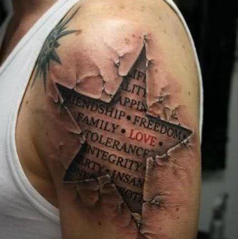 tatouage etoile 3d