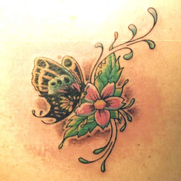 Tatouage fleurs et papillons - Papillon fleur ...