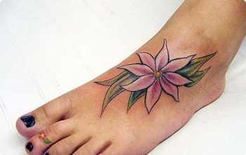 tatouage fleur pied