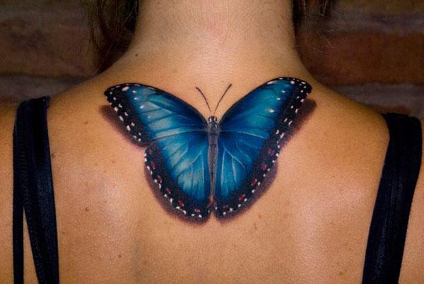 tatouage papillon bleu
